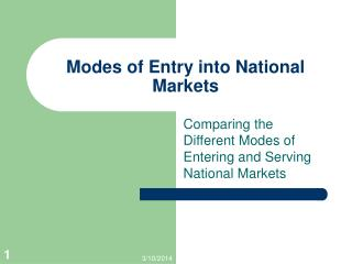 Modes of Entry into National Markets