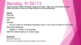 Monday,  9/30 /13