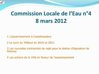 Commission Locale de l'Eau n°4 8 mars 2012