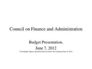 Council on Finance and Administration
