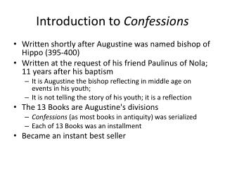 Introduction to  Confessions