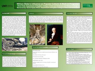 William Blake's Influence on Popular Culture: A Work in Progress
