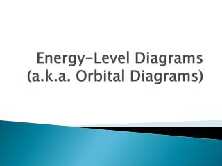 Energy-Level Diagrams (a.k.a. Orbital Diagrams)