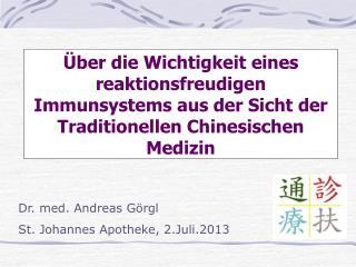 Dr. med. Andreas  Görgl St. Johannes Apotheke, 2.Juli.2013