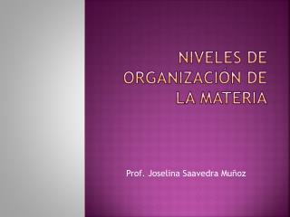 Niveles de Organización de la Materia