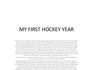 MY FIRST HOCKEY YEAR