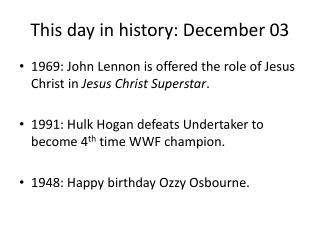 This day in history: December 03