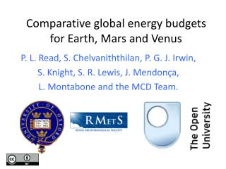 Comparative global energy budgets for Earth, Mars and Venus