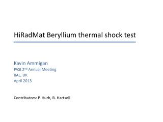 HiRadMat  Beryllium thermal shock test