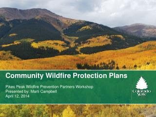 Community Wildfire Protection Plans Pikes Peak Wildfire Prevention Partners Workshop