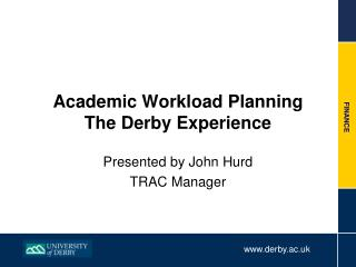 Academic Workload Planning The Derby Experience