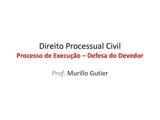 Direito  P rocessual Civil Processo de Execução – Defesa do Devedor