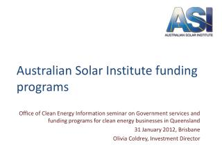 Australian Solar Institute funding programs