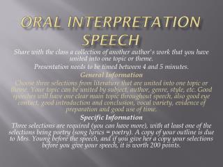 Oral Interpretation Speech