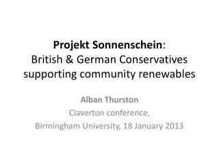 Projekt Sonnenschein :  British & German Conservatives supporting community renewables