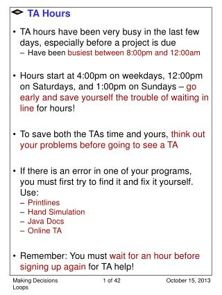 TA Hours