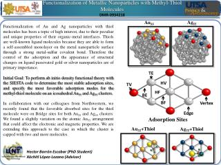 Functionalization  of  Metallic Nanoparticles with Methyl -Thiol  Molecules DMR-0934218