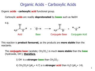 Organic Acids - Carboxylic Acids