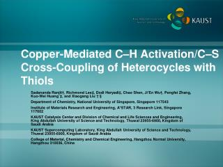 Copper-Mediated C�H Activation/C�S Cross-Coupling of  Heterocycles  with  Thiols