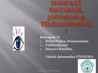 Manfaat Database, Jaringan & telekomunikasi