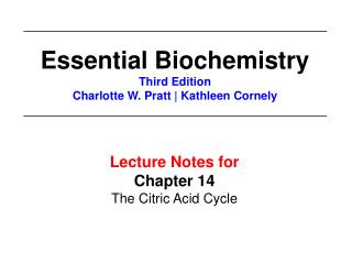 Lecture Notes for  Chapter 14 The Citric Acid Cycle
