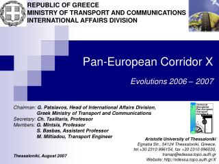 Pan-European Corridor X  Evolutions 2006   2007
