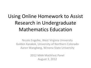 Using Online Homework to Assist Research in Undergraduate Mathematics Education