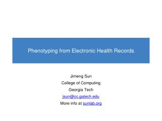 Phenotyping from  Electronic Health Records