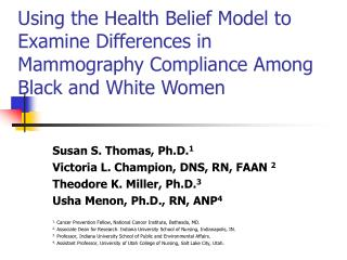 Using the Health Belief Model to Examine Differences in Mammography Compliance Among Black and White Women