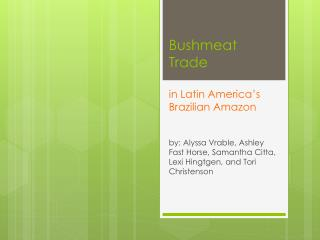 Bushmeat Trade in Latin America's Brazilian Amazon