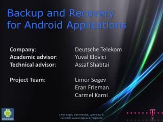 Backup and Recovery  for Android Applications