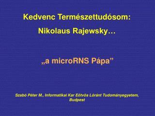Kedvenc Természettudósom: Nikolaus Rajewsky…