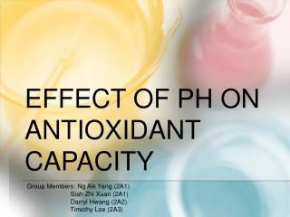 Effect of  ph  on antioxidant capacity