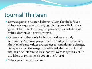 Journal Thirteen