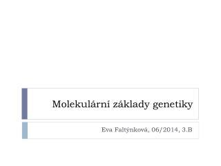 Molekul�rn� z�klady genetiky