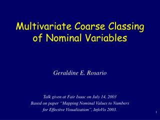 Multivariate Coarse Classing of Nominal Variables