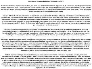 Mensaje del Hermano Álvaro para el día de la Paz 2010