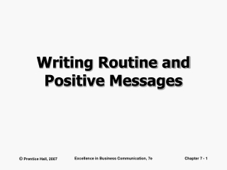 Chapter 7 Routine Messages