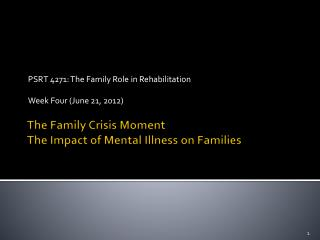 The Family Crisis Moment  The Impact of Mental Illness on Families