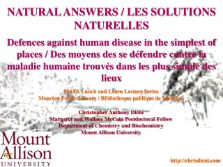 NATURAL ANSWERS / LES SOLUTIONS NATURELLES