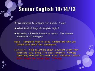Senior English 10/14/13