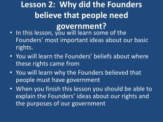 Lesson 2:  Why did the Founders believe that people need government