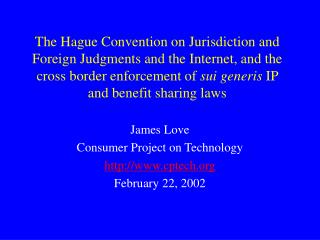 The Hague Convention on Jurisdiction and Foreign Judgments and ...