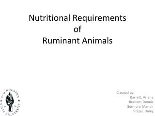 Nutritional Requirements  of  Ruminant Animals