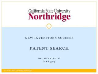 New Inventions Success Patent Search Dr. MARK  rajai MSE 303