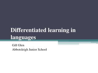 Differentiated learning in languages