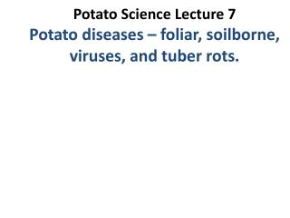 Potato  Science  Lecture 7  Potato diseases – foliar,  soilborne , viruses, and tuber rots.