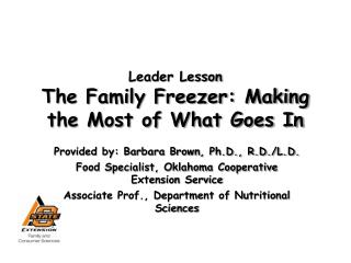 Leader Lesson The Family Freezer: Making the Most of What Goes In
