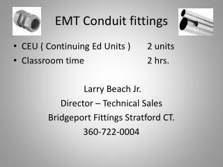 EMT Conduit fittings