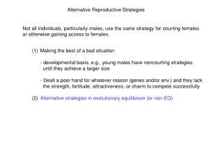 Alternative Reproductive Strategies